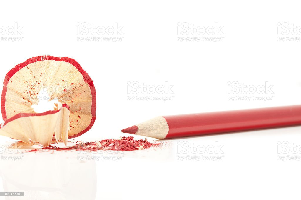 Shaved Red Pencil royalty-free stock photo