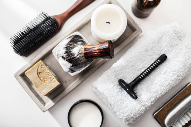 shaving accessories for men face care - shaving cream stock pictures, royalty-free photos & images