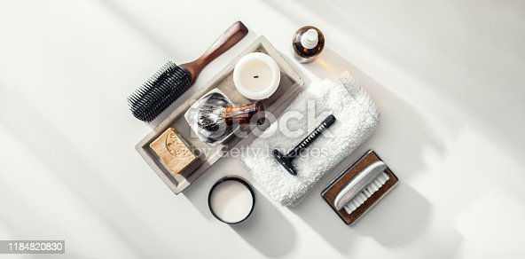istock Shaving accessories for men face care 1184820830