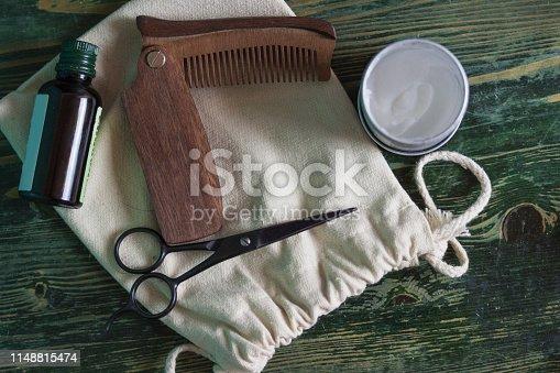 istock Shaving accessories on wooden background, zero waste. 1148815474