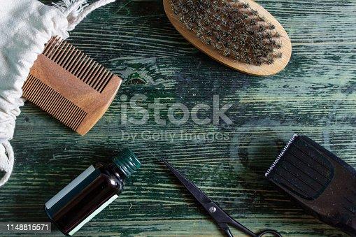 istock Shaving accessories on wooden background, zero waste. 1148815571