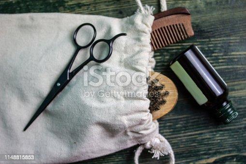 istock Shaving accessories on wooden background, zero waste. 1148815853