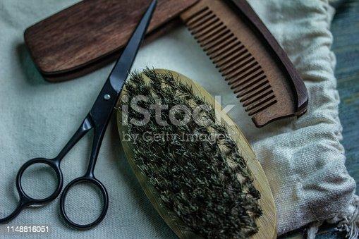 istock Shaving accessories on wooden background, zero waste. 1148816051
