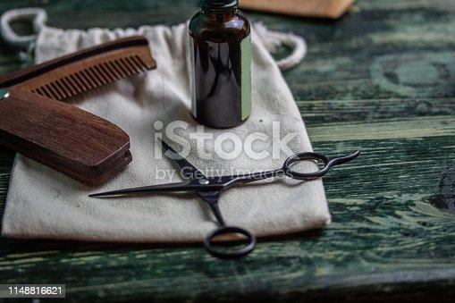 istock Shaving accessories on wooden background, zero waste. 1148816621