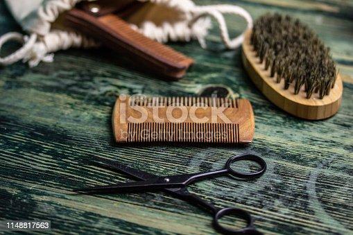 istock Shaving accessories on wooden background, zero waste. 1148817563