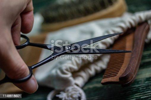 istock Shaving accessories on wooden background, zero waste. 1148818601
