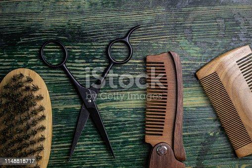 istock Shaving accessories on wooden background, zero waste. 1148818717