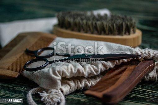 istock Shaving accessories on wooden background, zero waste. 1148818807