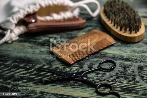 istock Shaving accessories on wooden background, zero waste. 1148818812