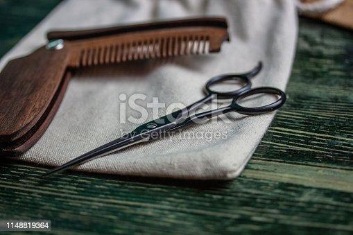 istock Shaving accessories on wooden background, zero waste. 1148819364