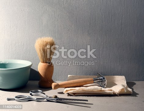 Vintage barber shop tools with copy space.