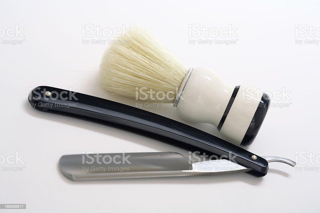 Shaving Brush & Straight Razor (classic) royalty-free stock photo