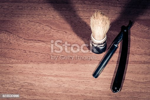 483333652 istock photo Shaving brush and razor blade. 623530996