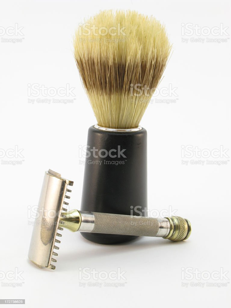 Shaving brush and vintage safety razor. stock photo