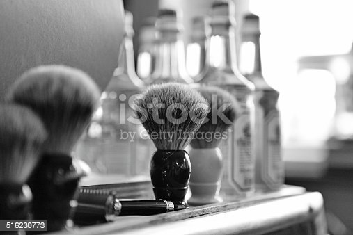 shaving brushes at barbershop