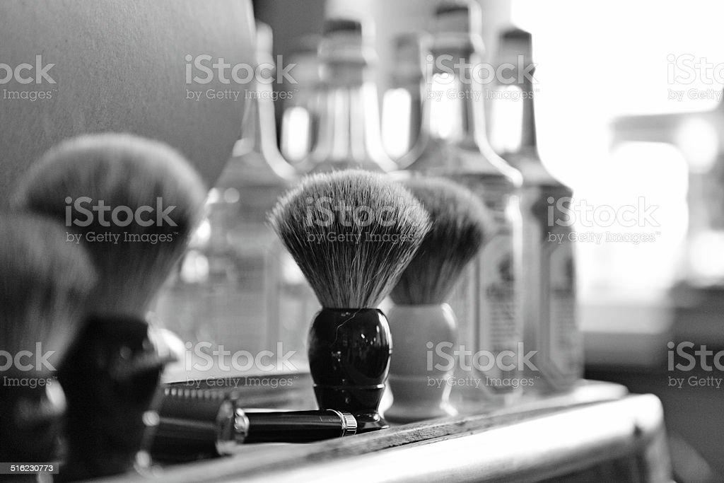 ひげそり用ブラシの理髪店 ストックフォト