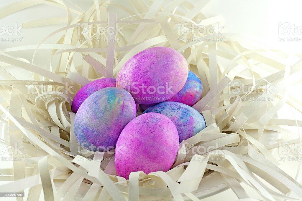 Shaving Cream Tye Dye Easter Eggs stock photo