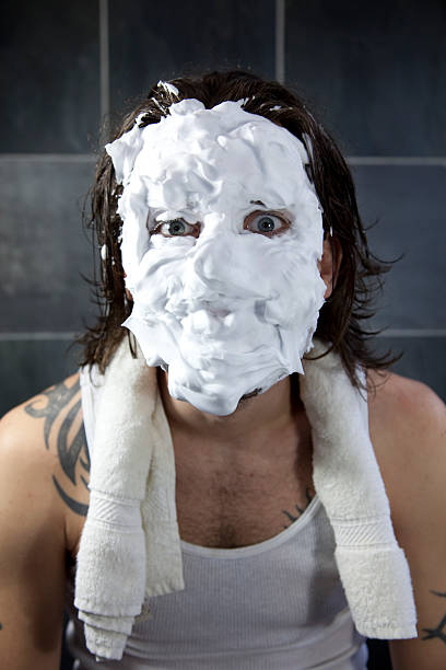 shaving disaster - shaving cream stock pictures, royalty-free photos & images