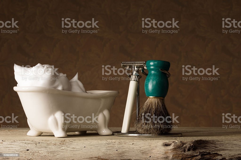 Shaving Equipment on wooden Table and vintage Background stock photo
