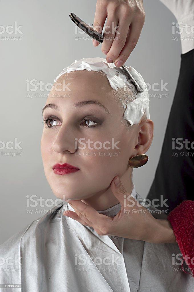 Shaving girl stock photo