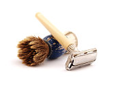 istock Shaving razor and brush 477391278