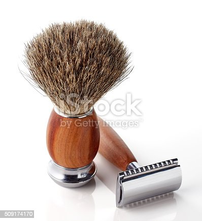 istock Shaving razor and brush 509174170