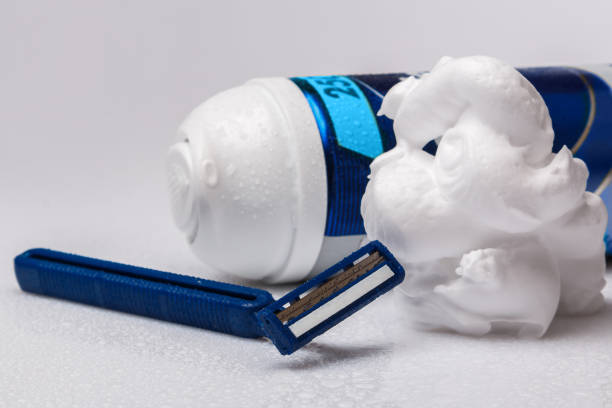 shaving razors and foam - shaving cream stock pictures, royalty-free photos & images