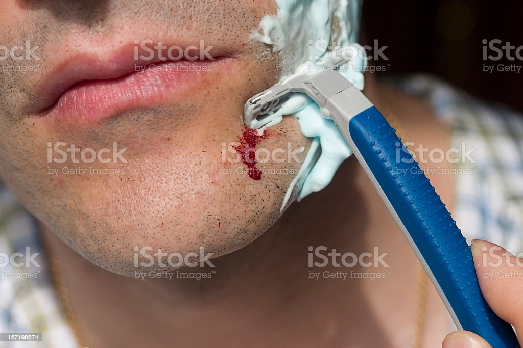 shaving wounded stock photo