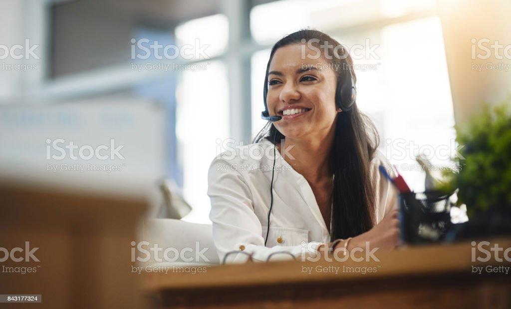 She always enjoys work stock photo