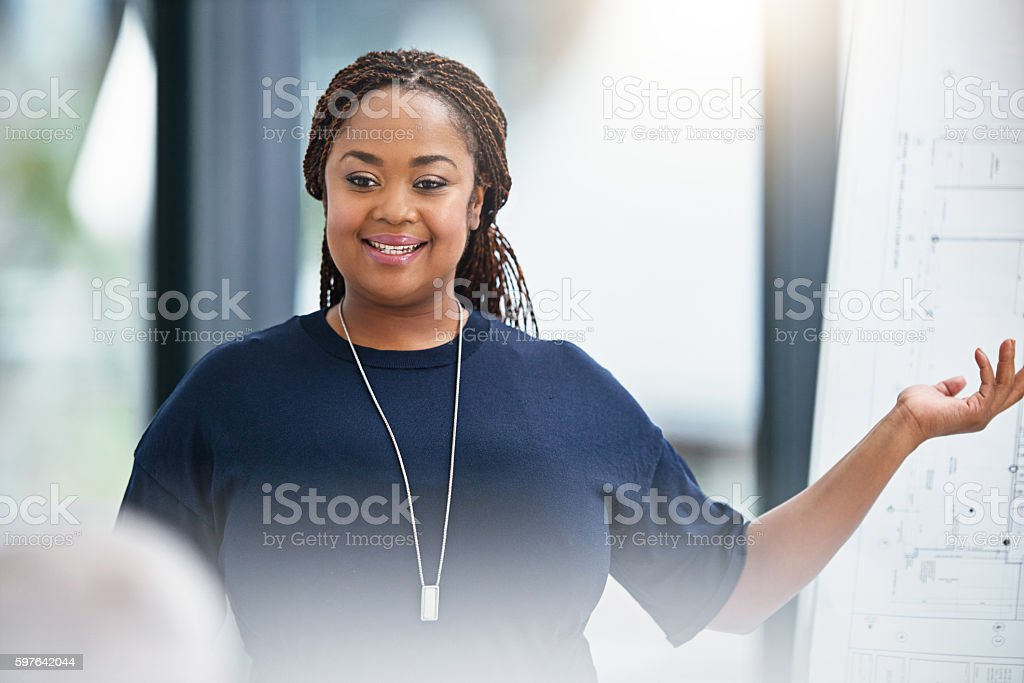 She always excels in her presentations stock photo