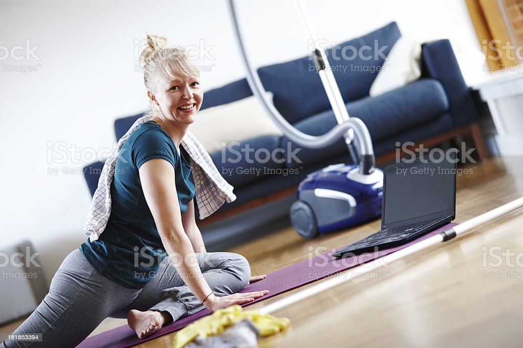 She always finds time for fitness royalty-free stock photo