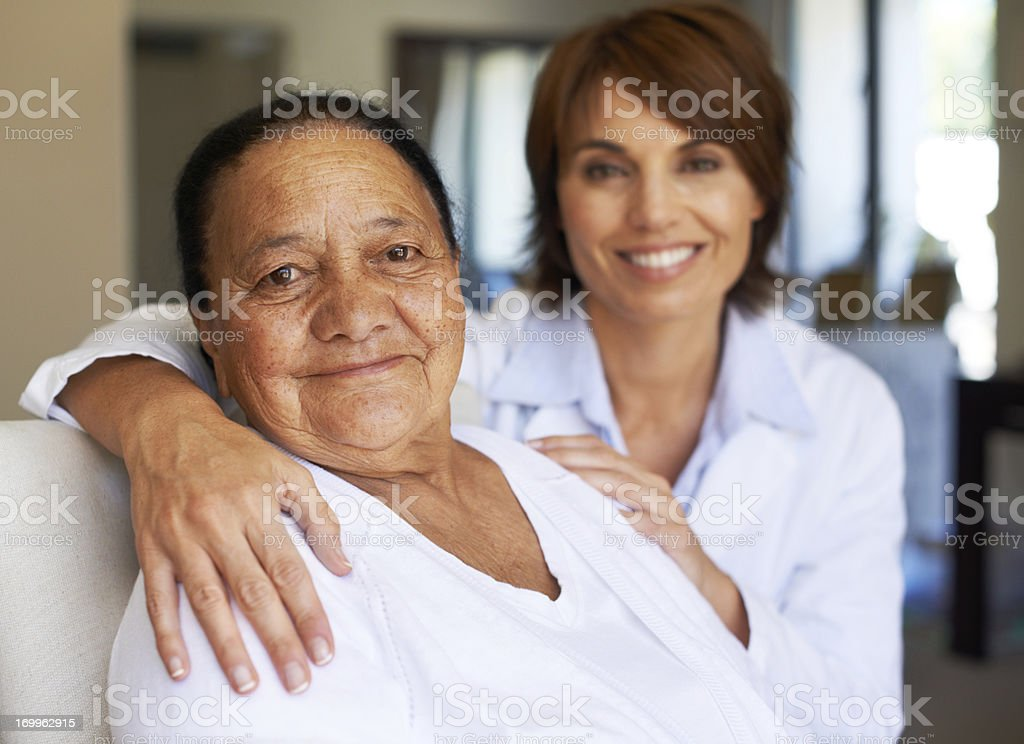 She always has a shoulder to lean on stock photo