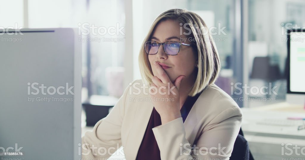 She always thinks before she acts stock photo
