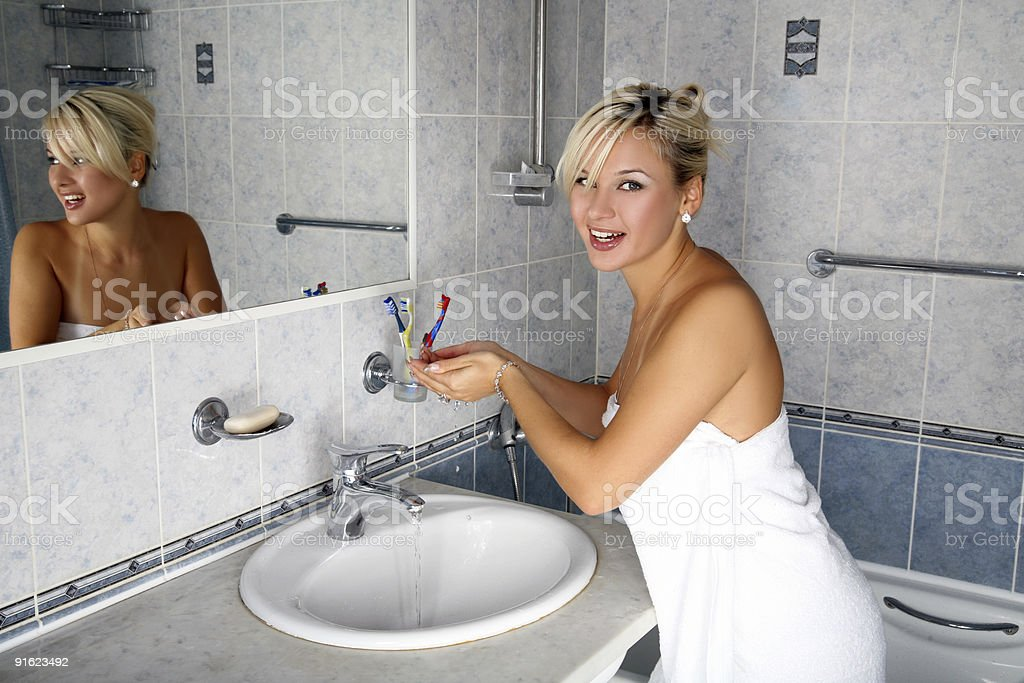 she always washes in cold water royalty-free stock photo