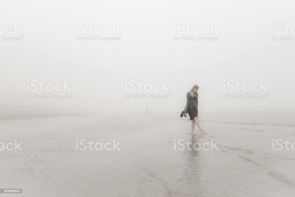 She and the fog royalty-free stock photo