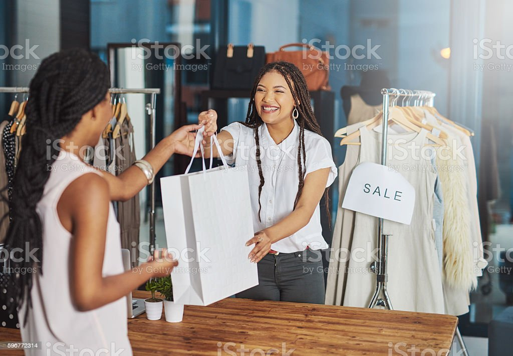 She believes in supporting local business royalty-free stock photo
