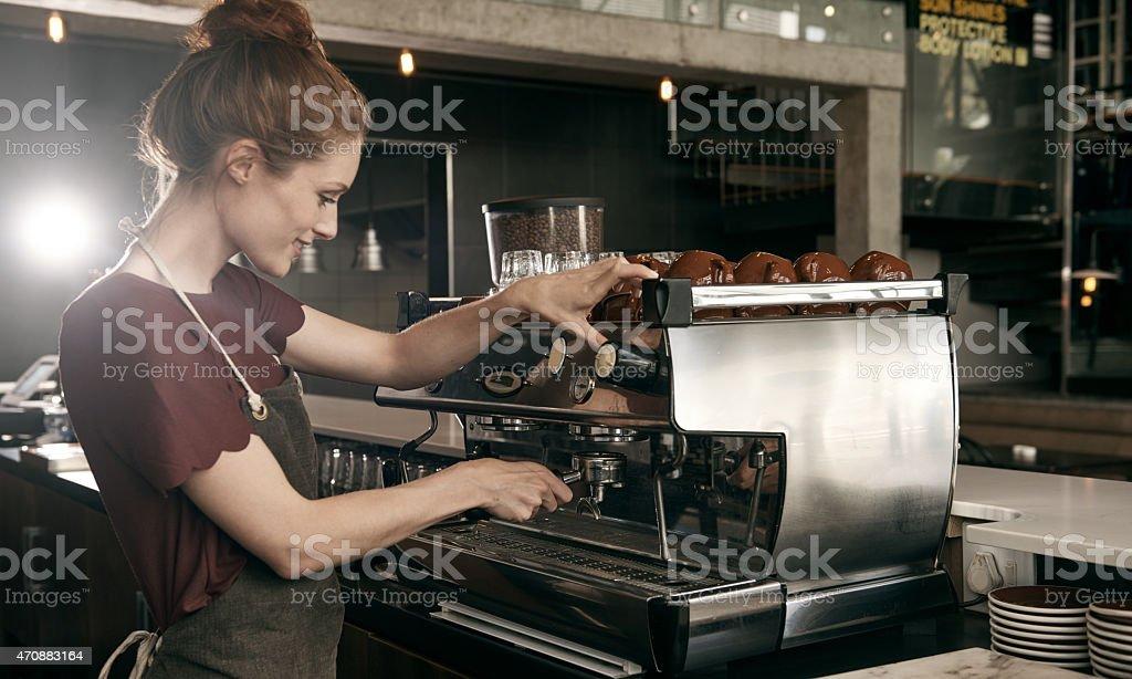 She brews it best stock photo