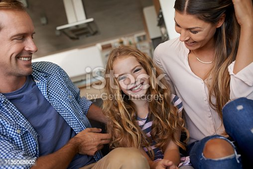 Portrait of a little girl bonding with her parents at home