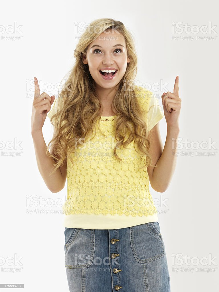 She can barely contain her excitement! - Copyspace stock photo