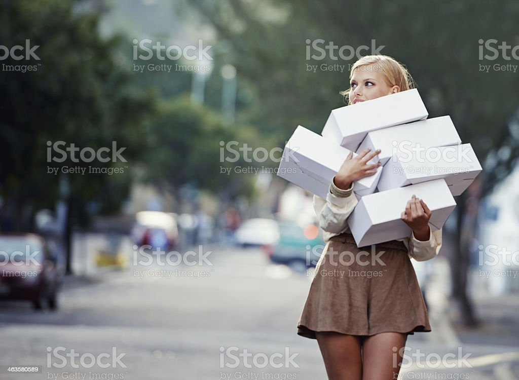 She can't get enough! stock photo