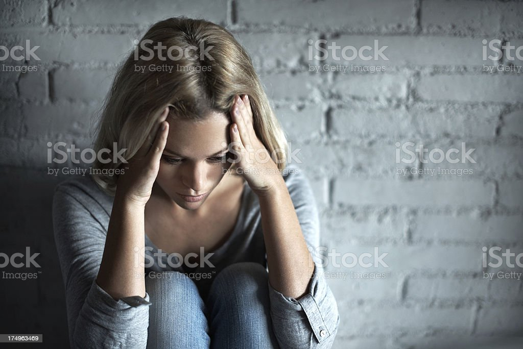 She can't take it anymore royalty-free stock photo