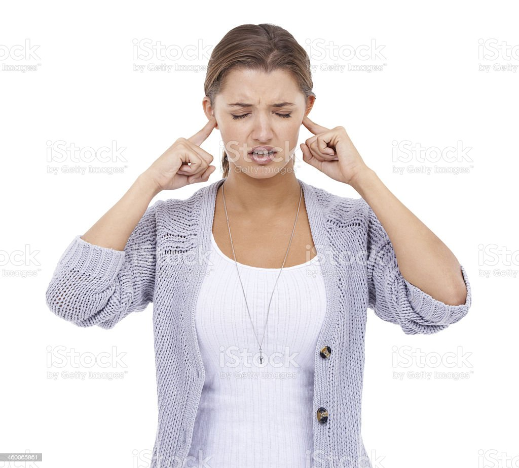She can't take the noise anymore! stock photo