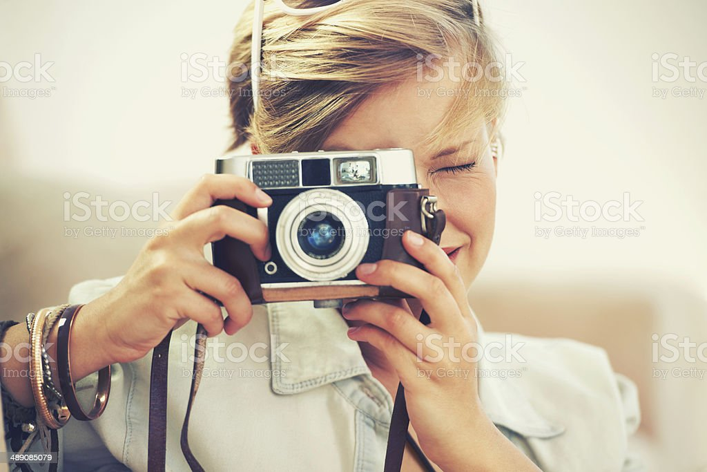 She chose to remain focused stock photo