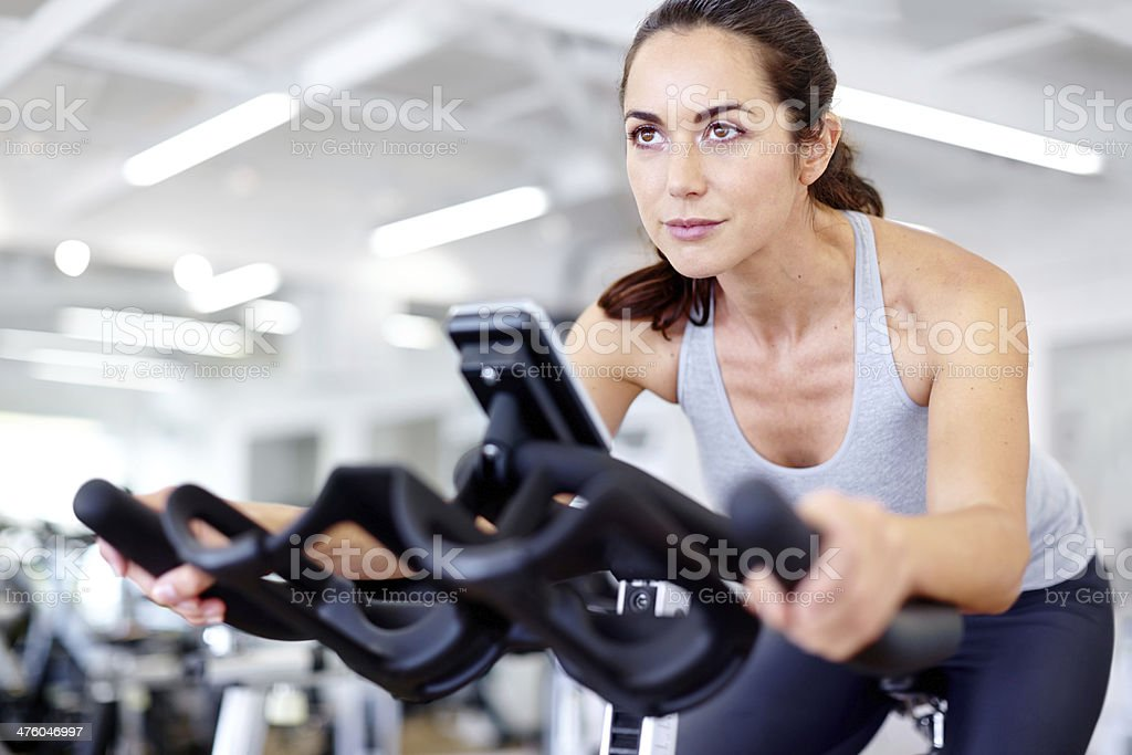 She determined to reach her fitness goals stock photo