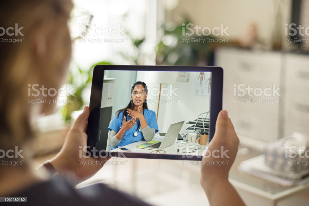 She doesn't need a prescription for this tablet stock photo