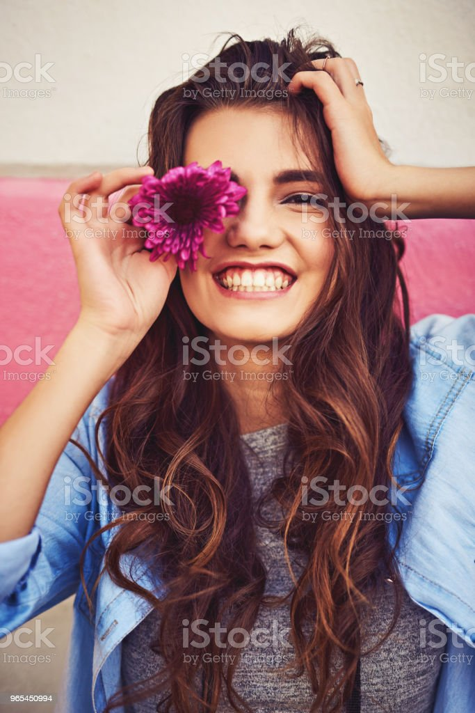 She doesn't need much to make her happy royalty-free stock photo