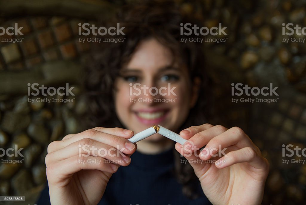 She doesn't want cigarettes in her life stock photo