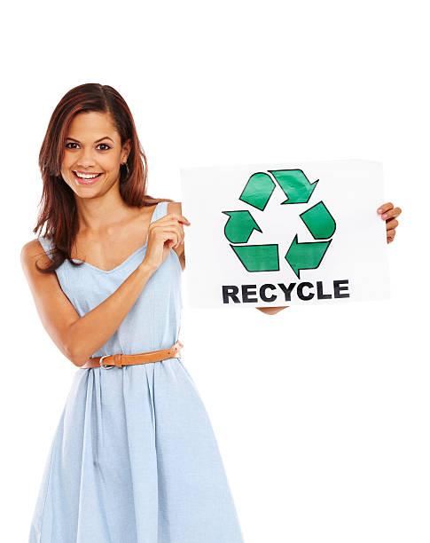 She endorses recycling! bildbanksfoto