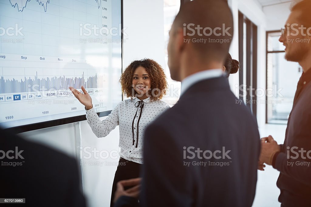 She excels in the boardroom stock photo