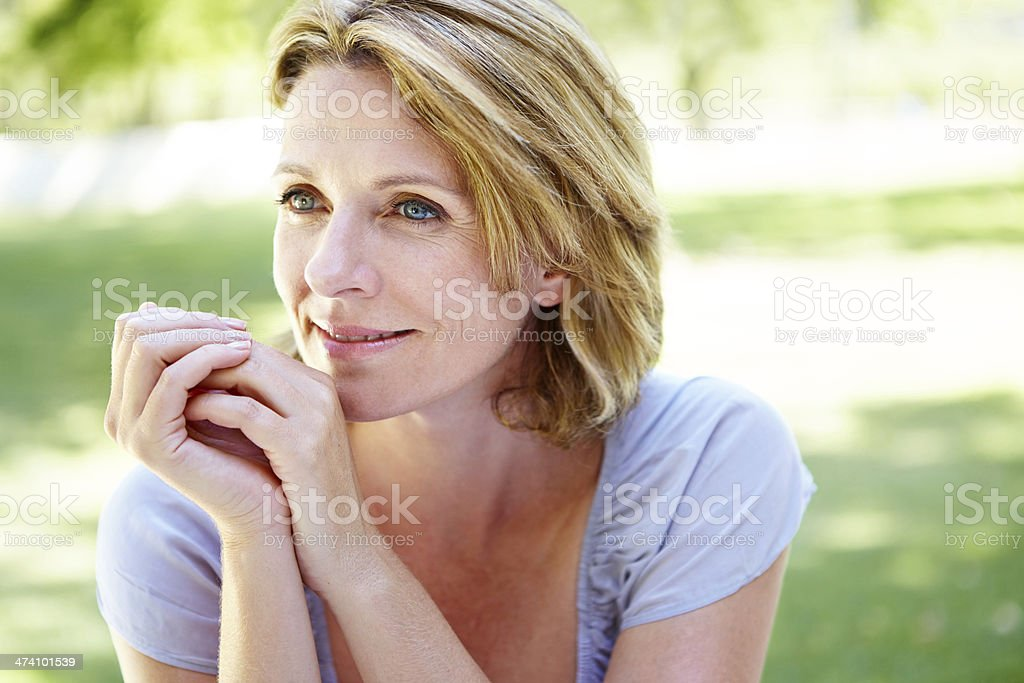 She has a lot to be grateful for royalty-free stock photo